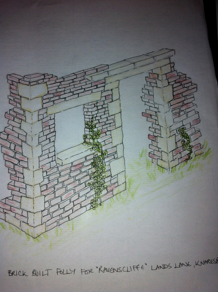 Samuel worked on this folly, this is an initial sketch for the Folly Garden