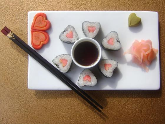 Heart shaped sushi