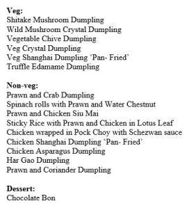 Dimsum menu