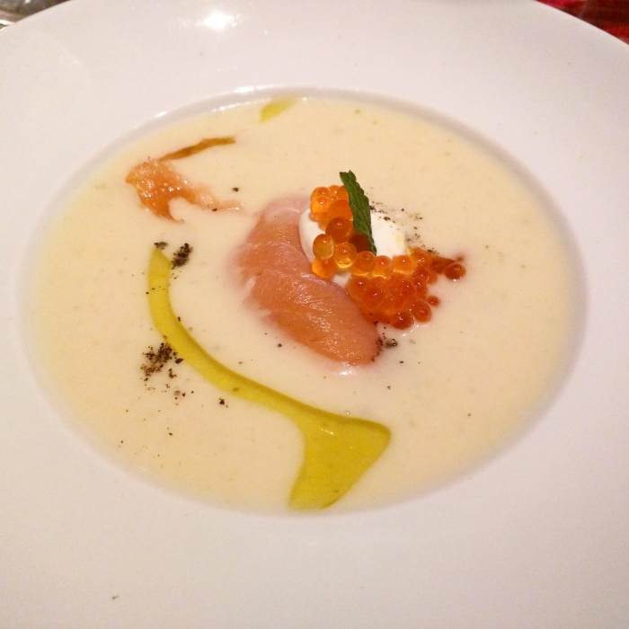 Cold Sour Topinambur, Leek Cream with Smoked Salmon and Caviar