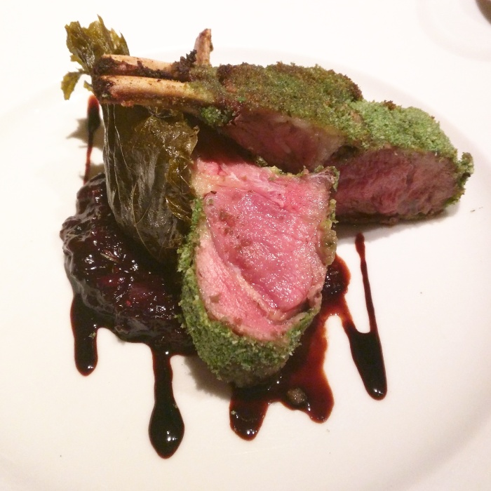 Bread Crust Lamb Rack with Ginger, Balsamic Reduction and Berries Relish