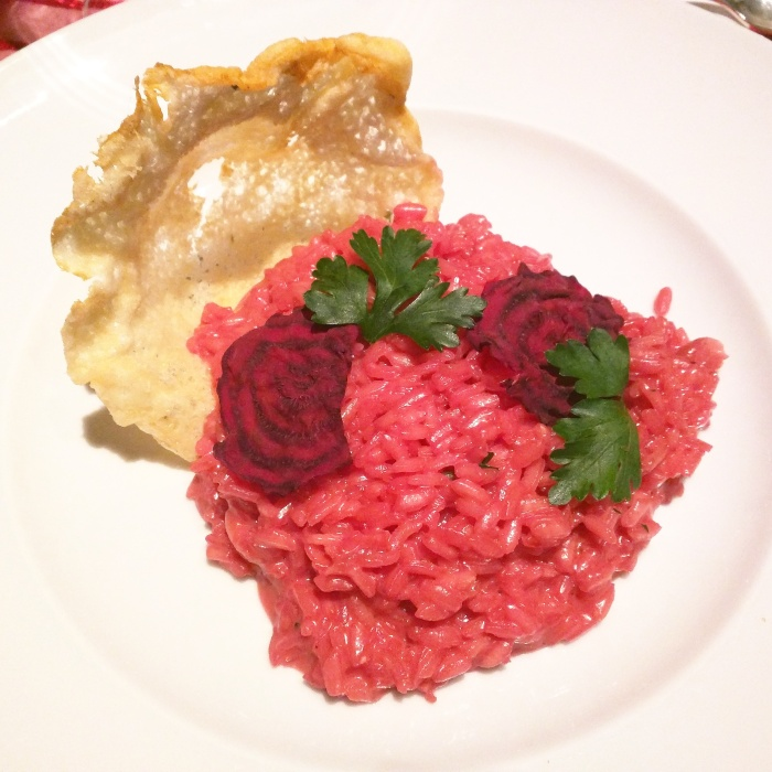 Beetroot and Port Wine Risotto with Crispy Parmesan Flake