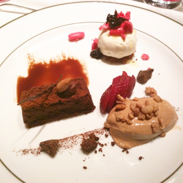 Trilogy of Desserts (Moist Chocolate Cake, Milk Chocolate Mousse with Oats Crumble and Olive oil Ice-cream)