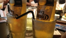 Coronarita - Corona Beer served upside down on frozen Margarita